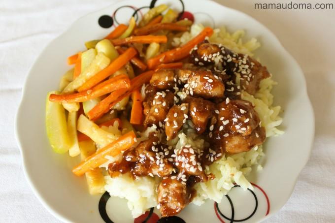 Медено пиле с ориз и зеленчуци