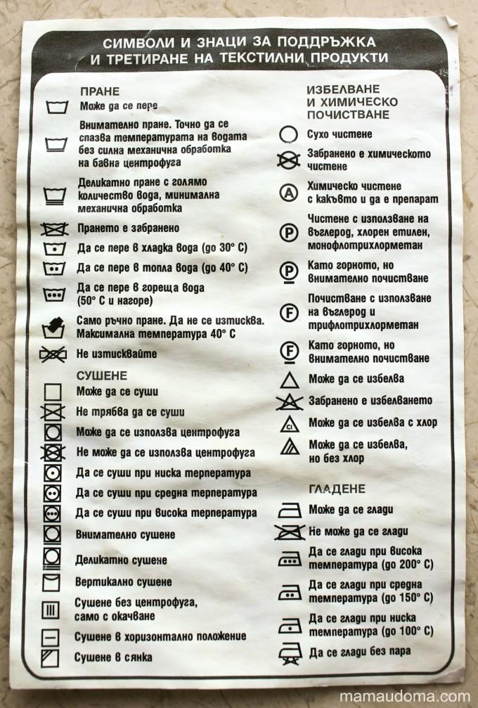 Символи за пране на дрехи