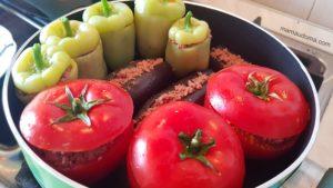 Долма с патладжан, пипер и домат (азербайджанска кухня)